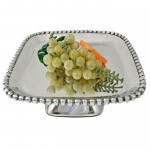 52547-LARGE SQ. BEADED CAKE STAND W/PEDESTAL