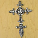 7003SIL-CL- CLEAR CRYSTAL / SILVER WALL CROSS / W FDL DESIGN