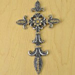 7003SIL-AM- AMBER CRYSTAL / SILVER WALL CROSS / W FDL DESIGN