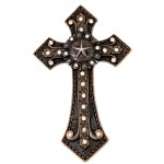 7007COP-CL-COP/CLEAR WALL CROSS CRYSTAL W/STAR