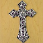 7007SIL-PL-PURPLE CRYSTAL / SILVER WALL CROSS / W STAR