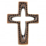 7010-COP-BL- CRYSTAL CROSS COPPER W/BLACK STONE