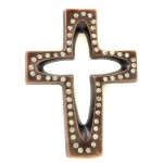 7010-COP-CL- CRYSTAL CROSS COPPER W/CLEAR STONE
