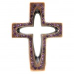 7010-COP-PL- CRYSTAL CROSS COPPER W/PURPLE STONE