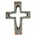 7010-COP-TQ- CRYSTAL CROSS COPPER W/TURQUOISE STONE