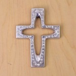 7010-SIL-CL- CRYSTAL CROSS SILVER W/CLEAR STONE