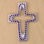 7010-SIL-PL- CRYSTAL CROSS SILVER W/PURPLE STONE