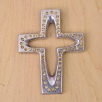 7010-SIL-AM- CRYSTAL CROSS SILVER W/AMBER STONE
