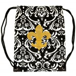 225503-GD-DAMASK DESIGN  BAG W/GOLD FDL