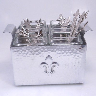 3478 HAMMERED/FDL UTENSIL HOLDER W/GLASS