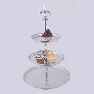 3501-ROUND 3TIER / HAMMERED FRUIT STAND W/FDL HANDLE