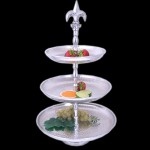 80040-ROUND 3 TIER HAMMERED FRUIT STAND W/FDL HANDLE