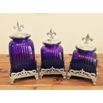 60004PURPLE- PURPLE SQUARE CANISTER SET WITH TOPS (BASE SOLD SEPARATE)