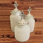60004FROST- FROSTED ROUND CANISTER SET  WITH LIDS