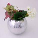 """ROUND 6"""" FLOWER VASE W/HAMMERED DESIGN"""