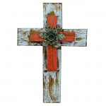 1267 - TURQ & RED DOUBLE LAYER CROSS W/GREEN FLOWER(METAL)