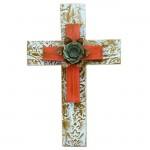 1269 - DAMASK TURQUOISE W/ RED CROSS W/ FLOWER(METAL)