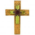 1271 - ORANGE & GREEN DOUBLE LAYER CROSS W/RED FLOWER