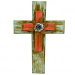 1275 - GREEN & RED DOUBLE CROSSES WITH TURQ FLOWER (METAL)
