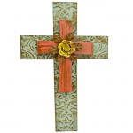 1276 - DAMASK GREEN & RED DOUBLE LAYER CROSS W/YELLOW FLOWER(METAL)