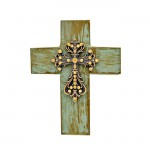 1284AM - TURQUOISE CROSS W/AMBER STONES