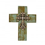1284CLR - TURQUOISE CROSS W/CLEAR STONES