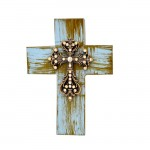 1287CLR - TURQUOISE CROSS W/CLEAR STONES