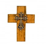 1288AM - BROWN CROSS W/CLEAR STONES