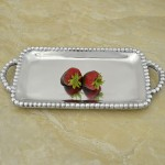 52399 - RECTANGULAR BEADED TRAY W/BEADED HANDLES