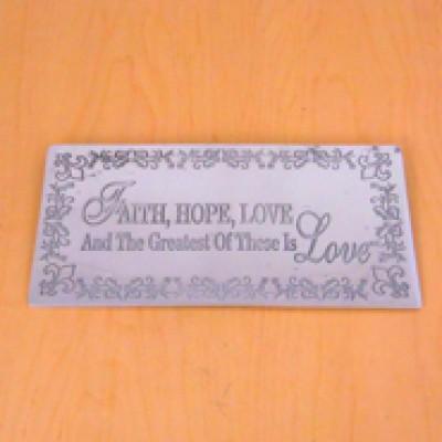 23790 - WALL PLAQUE - FAITH , HOPE , LOVE