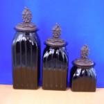 40074BLACK - SQUARE MEDIUM BLACK CANISTER SET / W COPPER GRAPE LIDS