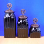 40074BLACK - SQUARE MEDIUM BLACK CANISTER SET / W COPPER STAR LIDS