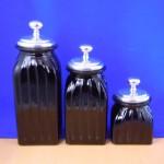 40074BLACK - SQUARE MEDIUM BLACK CANISTER SET / W PLAIN KNOB LIDS
