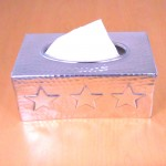 3448 -SILVER RECT. STAR TISSUE BOX ( HAMMERED )