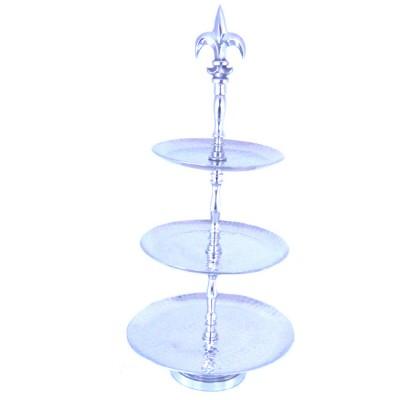 3457 - FRUIT STAND ROUND / W HAMMERED DESIGN
