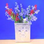 80023 - SQUARE WINE BOTTLE HOLDER OR FLOWER VASE / W FDL