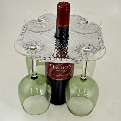 3508 - WINE GLASS HOLDER W/HAMMERED DESIGN