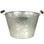 1186-SILVER BUCKET W/DAMASK DESIGN