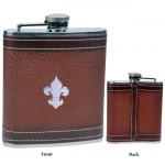 FDL BROWN LEATHER 6 Oz. FLASK