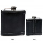 BLACK LEATHER / 6 Oz. FLASK