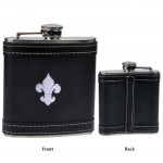 FDL BLACK LEATHER 6 Oz. FLASK