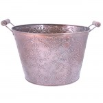 1201-COPPER BUCKET W/DAMASK DESIGN