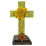 GREEN STANDING CROSS DAMASK DESIGN  W/YELLOW FLOWER - BOTTOM FLOWER AVAILABLE IN DIFFERENT COLORS