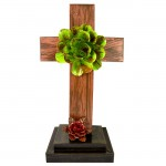 BROWN STANDING  CROSS W/GREEN FLOWER (METAL) - BOTTOM FLOWER AVAILABLE IN DIFFERENT COLORS