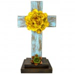 1250 TURQUISE STANDING CROSS W/ YELLOW FLOWER - BOTTOM FLOWER AVAILABLE IN DIFFERENT COLORS