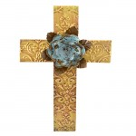 1251 - DAMASK BROWN METAL CROSS W/ TURQUOISE FLOWER