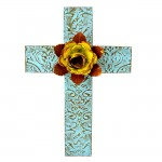 1254 - DAMASK TURQUOISE METAL CROSS W/ YELLOW FLOWER