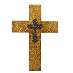 1255 - DAMASK BROWN METAL CROSS W/ BLUE CRYSTAL STAR