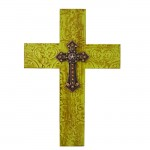 1258-CR-AM - DAMASK GREEN METAL CROSS W/ AMBER CRYSTAL STAR