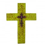 1258-FDL-PK - DAMASK GREEN METAL CROSS W/ PINK CRYSTAL FLEUR DE LIS